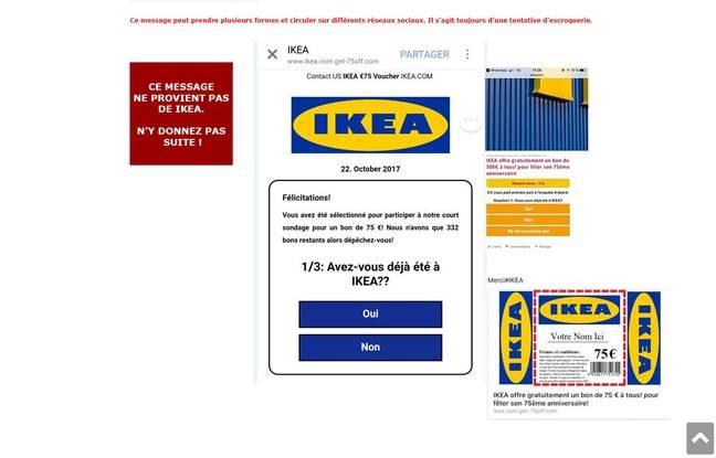 Ces différents messages pour des bons Ikea circulent sur les réseaux sociaux, notamment sur Facebook.