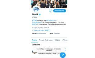 Ce samedi, le compte Twitter de «TPMP» a été suspendu.