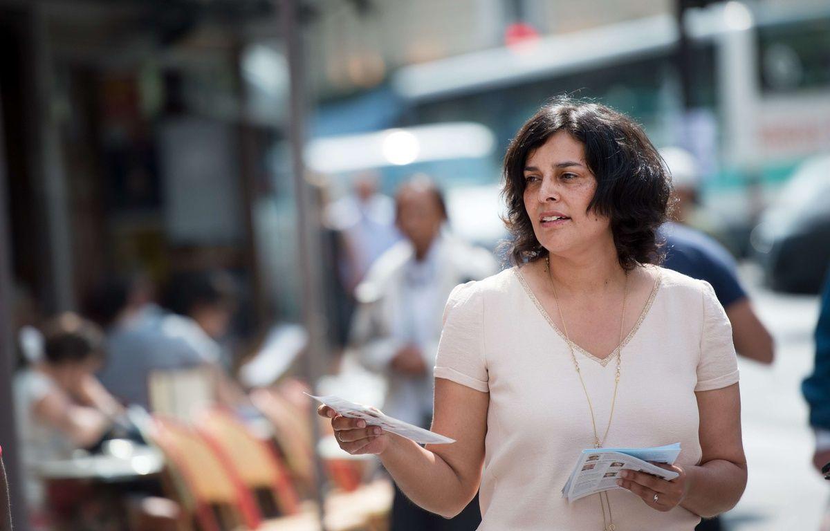 Paris, le 27 mai 2017. - L'ancienne ministre du Travail Myriam El Khomri pendant sa campagne législative dans la 18e circonscription de Paris. – SIPA