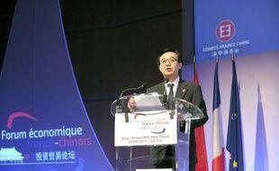 Le ministre chinois du Commerce Gao Hucheng s'exprime à l'ouverture du forum économique franco-chinois au ministère des Finances à Paris, le 27 mars 2014