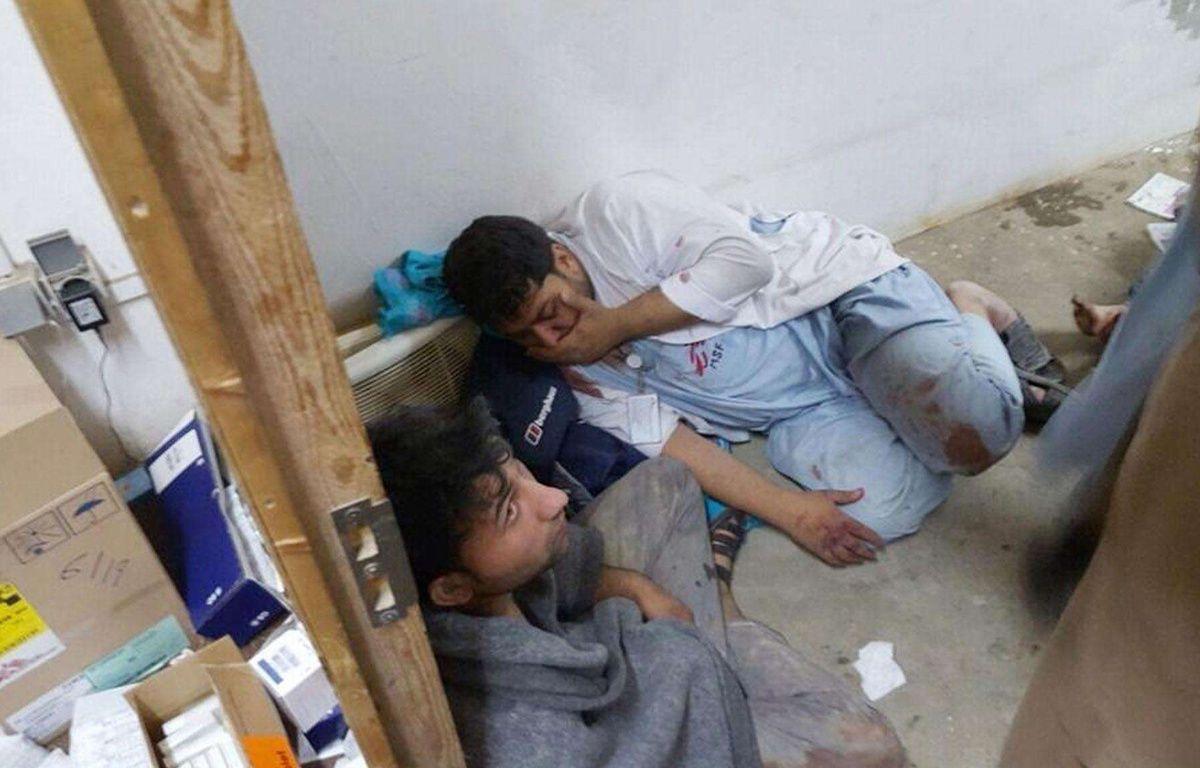 Des docteurs de MSF blessés après le bombardement de l'hôpital de Kunduz par l'Otan, samedi 3 octobre. – Uncredited/AP/SIPA
