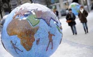 Un globe-terrestre exposé lors de la conférence sur le climat de Copenhague, le 19 décembre 2009