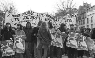 Manifestation pour la Journée internationale de la femme en 1980.