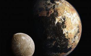 Vue d'artiste de Pluton et sa lune Charon.