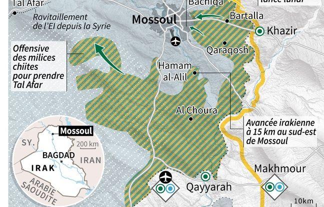 Carte de la région de Mossoul avec les points clés de la situation militaire, les forces déployées, les mouvements des troupes et l'entrée des forces irakiennes dans Mossoul