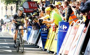 Mark Cavendish lors de l'arrivée à Harrogate, le 4 juillet 2014 sur le Tour de France.