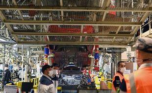 Lors d'une visite de Muriel Penicaud, ministre du Travail, à l'usine Toyota. (Illustration)