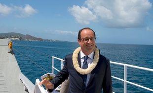 François Hollande en visite à Mayotte, le 22 août 2014.