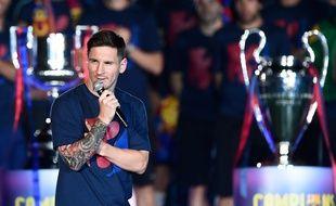 Lionel Messi à Barcelone après la victoire des Catalans en Ligue des champions, le 7 juin 2015.