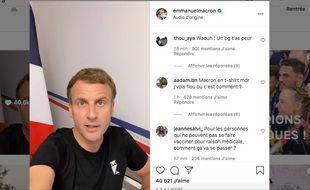 Capture d'écran de la vidéo postée lundi 2 août par Emmanuel Macron