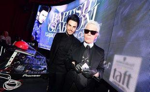Baptiste Giabiconi et Karl Lagerfeld en 2015.