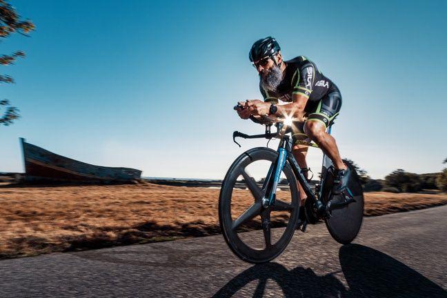 Dany Perray sur l'épreuve de vélo.