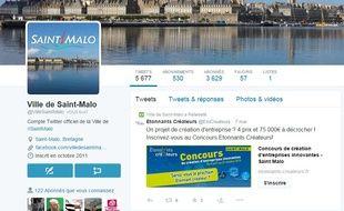 La ville de Saint-Malo dispose d'un compte Twitter depuis octobre 2011.