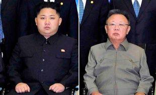 Kim Jong-un et son père, Kim Jong-il, le 25 octobre 2011.