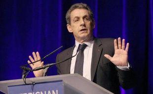 Le président de l'UMP et ancien président de la République Nicolas Sarkozy à Perpignan, le 26 mars 2015