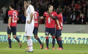 Nolan Roux fête son but lors du match entre Lille et Monaco le 3 novembre 2013.