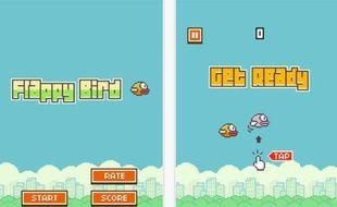 Captures d'écran du jeu mobile Flappy Bird, créé par un développeur indépendant.
