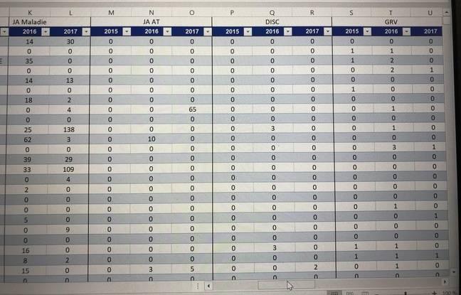 L'un des quatre fichiers Excel qui classe les conducteurs de bus selon des critères illégaux (grève, arrêt maladie, ...).