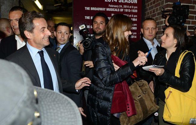 Nicolas Sarkozy et Carla Bruni après un concert de l'artiste au Town Hall Theater à New York le 24 avril 2014.