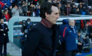 Unai Emery, l'entraîneur du PSG, lors de Paris-Strasbourg au Parc des Princes, le 17 février 2018.
