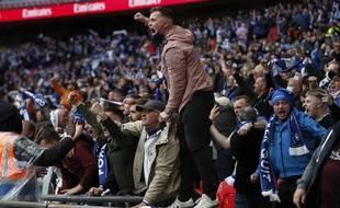 Des supporters de Leicester lors de la finale de la Cup contre Chelsea, à Wembley, le 15 mai 2021.