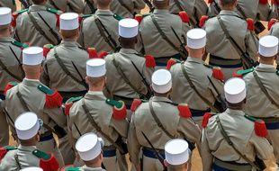 Des légionnaires commémorent l'anniversaire de la bataille de Camerone, le 30 avril 2016 à Nîmes.