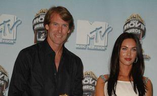 Le réalisateur Michael Bay et l'actrice Megan Fox en 2008