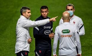 Kylian Mbappé à l'entraînement avant Portugal-France, le 13 novembre 2020 à Lisbonne.