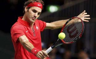 Roger Federer lors de son match contre Fabio Fognini le 14 septembre 2014.
