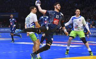 Ludovic Fabregas avec l'équipe de France face à la Slovénie en demi-finale des championnats du monde, le 26 janvier.
