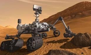 Vue d'artiste du robot Curiosity en pleine exploration sur Mars