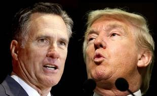 Photomontage des républicains Mitt Romney et Donald Trump.