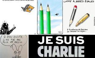 Dessins en hommage à la rédaction de «Charlie Hebdo», visée par un attentat le 7 janvier 2015.