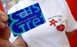 Photo d'une carte de donneur prise le 23 juillet 2007 à Caen sur un stand d'information concernant les dons d'organes.