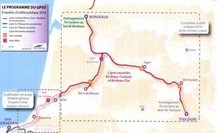 Le tracé du GPSO, projet de lignes ferroviaires à grande vitesse du Sud-Ouest