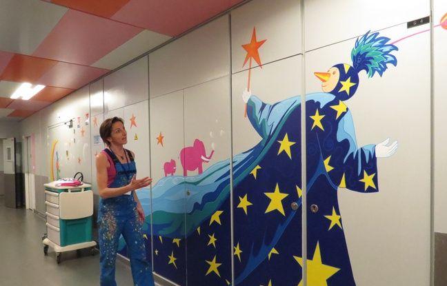 Edith Beaudoin a peint entre mai et décembre 2016 dans 32 chambres et tous les couloirs de ce service où sont hospitalisés les enfants entre quelques semaines et plusieurs mois.