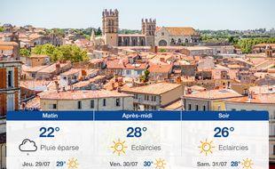 Météo Montpellier: Prévisions du mercredi 28 juillet 2021