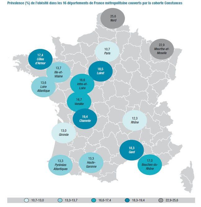 La prévalence de l'obésité globale en France démontre des inégalités selon les régions.
