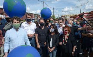 Julien Bayou, Secrétaire National d'EELV, Yannick Jadot, Député européen EELV, et Benoit Hamon,  ancien candidat a la présidentielle.