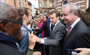 En septembre 2011, le Président de la République, Emmanuel Macron, et le maire de Toulouse, Jean-Luc Moudenc.