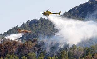 Un hélicoptère et un canadair tentent d'éteindre l'incendie qui ravage le nord-est de l'Espagne, à Boadella d'Empordà, le 24 juillet 2012.