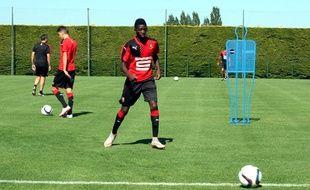 Ousmane Dembélé, ici lors d'un entraînement à Dinard, au mois de juillet.