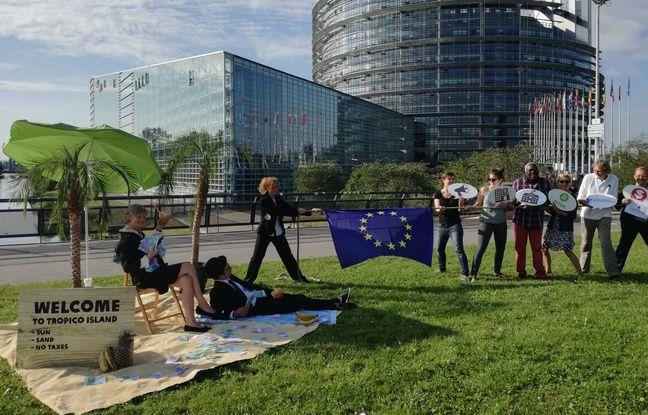 Ce tir à l'arc avec un drapeau européen au centre symbolise le choix (pendant le vote de ce mardi)