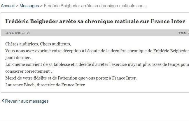 Après sa chronique malaise, Frédéric Beigbeder arrête son billet sur France Inter