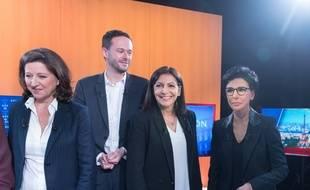 Agnès Buzyn, David Belliard, Anne Hidalgo et Rachida Dati lors du premier débat des municipales à Paris, mercredi 4 mars.