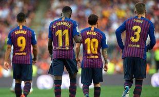 Luis Suarez, Ousmane Dembélé, Lionel Messi et Gérard Piqué, sous le maillot du FC Barcelone.