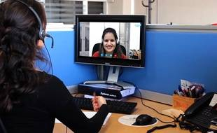 Un cours d'anglais via skype.