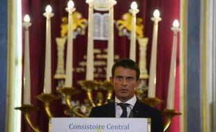 Le Premier ministre Manuel Valls, lors de ses voeux à quelques jours du nouvel an juif, à la synagogue Nazareth à Paris le 8 septembre 2015