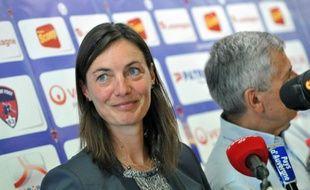 Corinne Diacre, lors de sa conférence de presse de présentation, le 30 juin 2014 à Clermont.