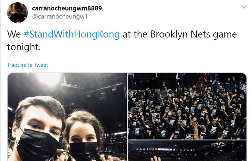 Tweetgate : Des partisans de Hong Kong s'invitent à un match NBA des Brooklyn Nets